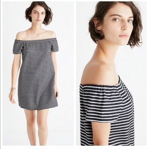 Madewell Striped Off the Shoulder Mini Dress XS